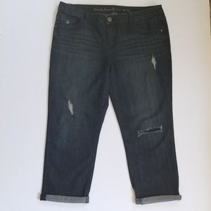 Simply Vera Dark Wash Wash Distressed Capris Sz 10